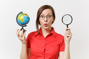 Astonished business teacher woman in