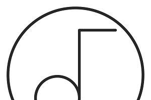 Music note stroke icon, logo