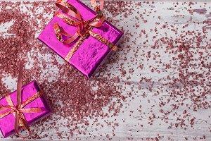 Holiday gifts in bright pink