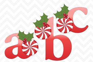 Christmas Peppermint Holly Alphabet