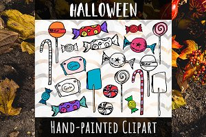 Halloween Candy Hand Painted Set