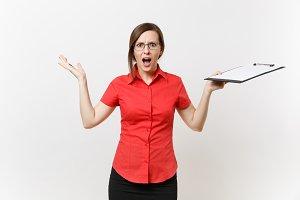 Portrait of shocked business teacher
