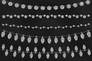 Silver Glitter Bunting Clip Art