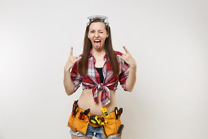 Strong excited handyman woman in pla