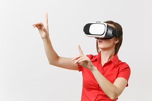 Business woman in headset of virtual