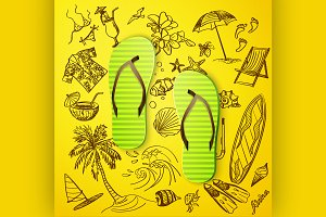thongs and hand draw tourist icon