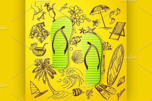 thongs and hand draw tourist icon in Illustrations