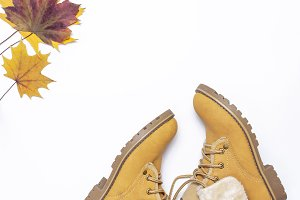 Female orange fashion shoes boots