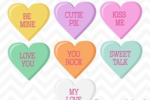 Valentine Candy Hearts Clip Art