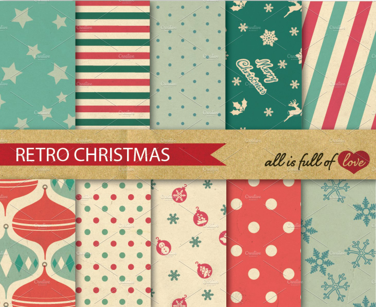 christmas retro background patterns ~ graphic patterns ~ creative market