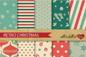 Christmas Retro Background Patterns