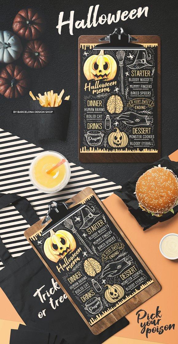 halloween party food menu brochure templates creative market