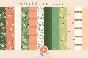 Grateful Heart Digital Papers