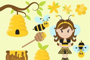 Honey Bee Girl Clip Art Set