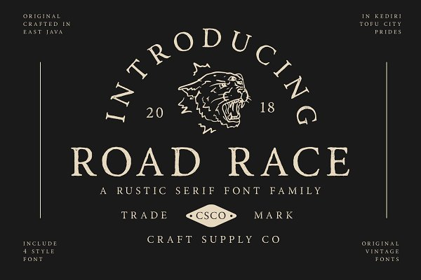 Serif Fonts: Craft Supply Co. - Road Race Font Family + Extras