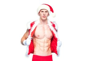 Sexy Santa Claus . Young muscular