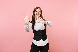 Young joyful business woman in glass