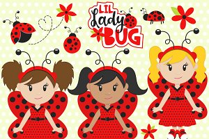 Ladybugs Vector Clip Art Set