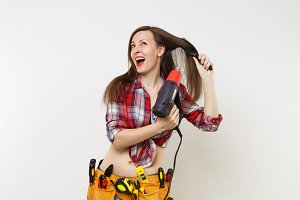 Silly mad strange fun handyman woman