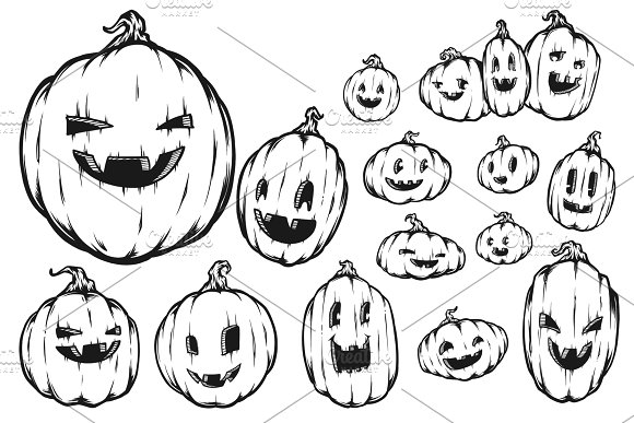 Halloween Pumpkin Drawing Picture.Premium Halloween Pumpkin Drawings