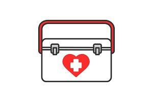 Organ transplant case color icon