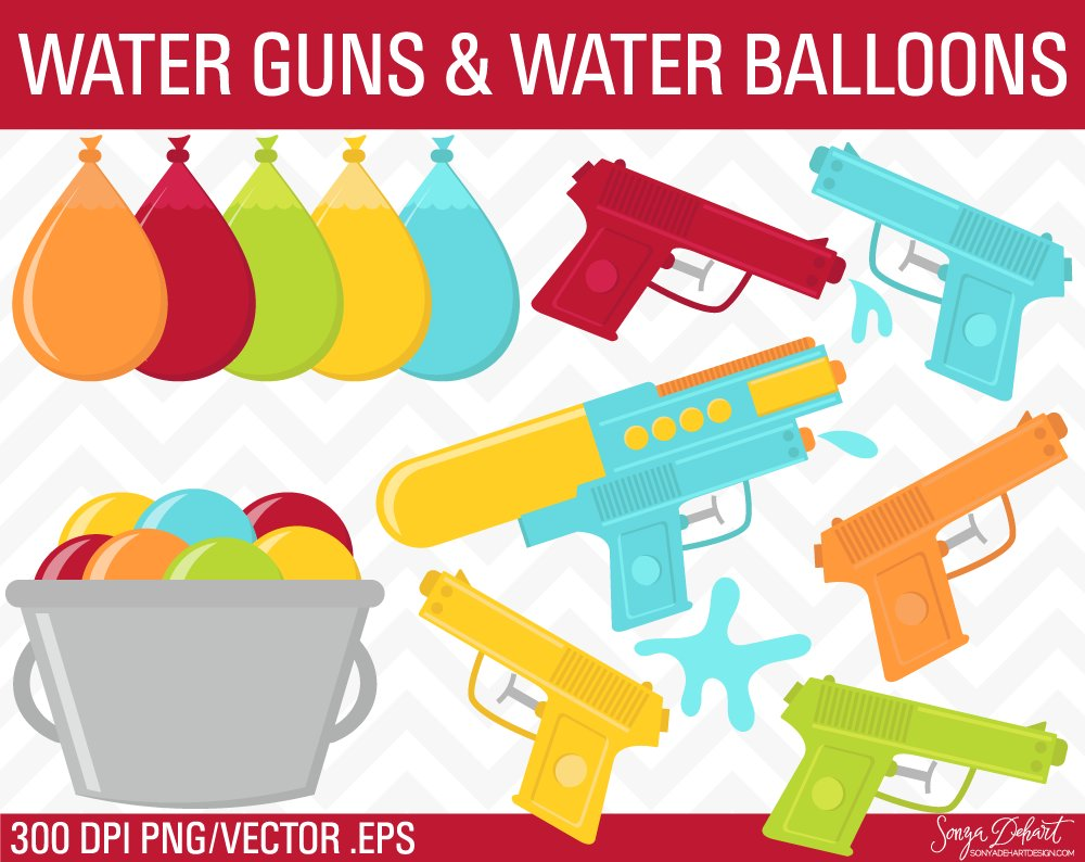 Water Guns Water Balloons Clip Art Graphic Objects Creative Market