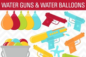 Water Guns & Water Balloons Clip Art