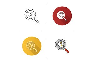 Fried eggs on pan icon