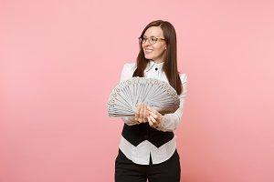 Young joyful successful business wom