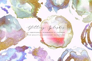 Glittery Watercolor Splashes