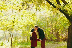 Young beautiful couple in love woman
