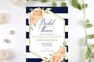 Navy Rose gold Roses Bridal Shower