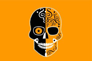 Halloween skull icon orange color