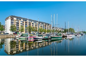 View of a marina in Caen, France