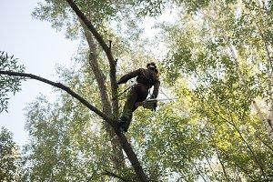 Man climbs up on a tree using ropes
