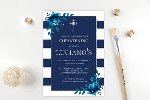 Navy Baptism Christening Invitations
