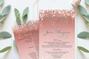 Rose Gold Romantic Wedding Program