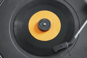 Vinyl record on turnable