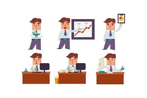 Flat vector set of office worker in