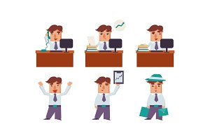 Flat vector set of man office