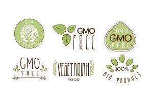 Vector set of colorful food emblems