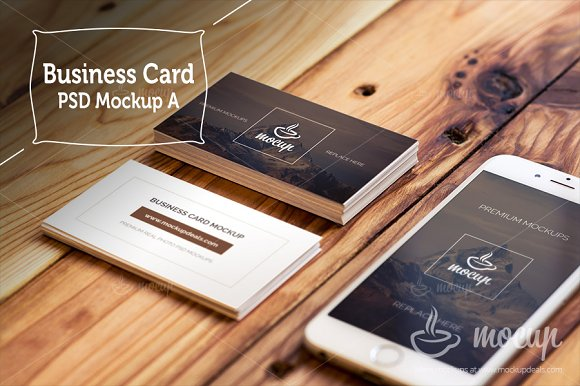 "Free Business Card Mockups ""A"""