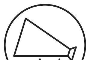 Old megaphone stroke icon, logo
