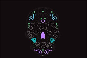 Black sugar skull icon with ornament