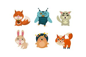 Flat vector set of cute cartoon