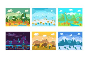 Flat vector set of landscapes with