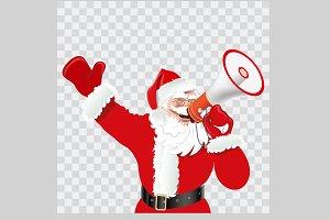 Santa with megaphone