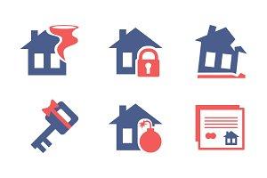Flat vector set of home insurance