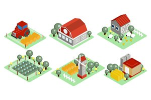 Vector set of isometric farm icons