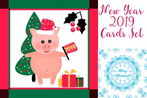 New Year 2019 Cards Set
